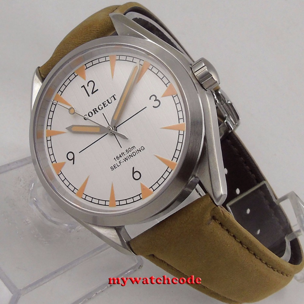brushed 41mm corgeut white dial Sapphire Glass miyota 821A automatic mens Watch C129 цена и фото