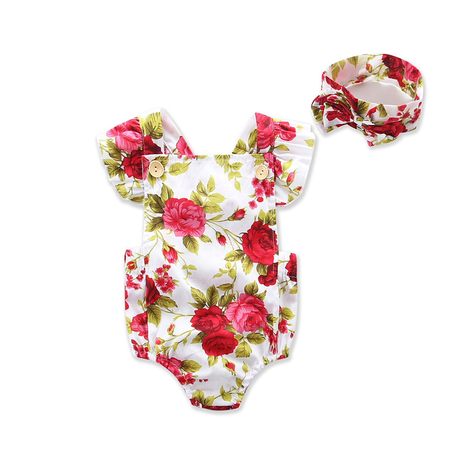 Sweet Baby Summer Floral Bodysuits Cute Toddles Novelty Bodysuits With Bow Headwear Ruffles Shoulder Kids Clothes Free Shipping