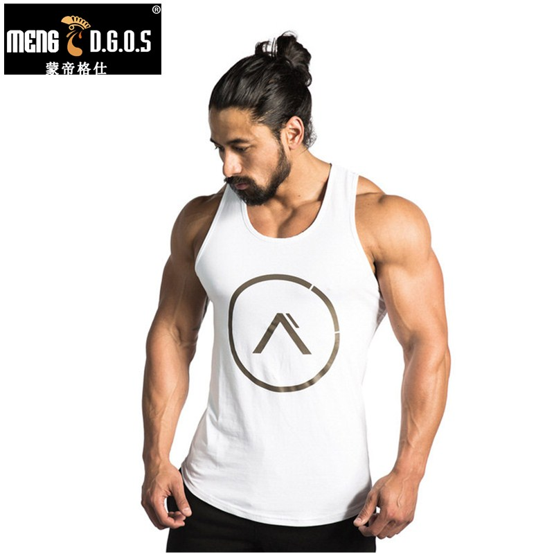 Mens summer gyms clothing Fitness   Tank     Top   Stringer Singlet Bodybuilding Solid color Vest sleeveless shirts male Sling