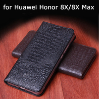 2018 Fashion Case for Huawei Honor 8X Luxury Genuine Leather Phone Cover Bag for Huawei Honor 8X Max Handmade Skin Free Holder