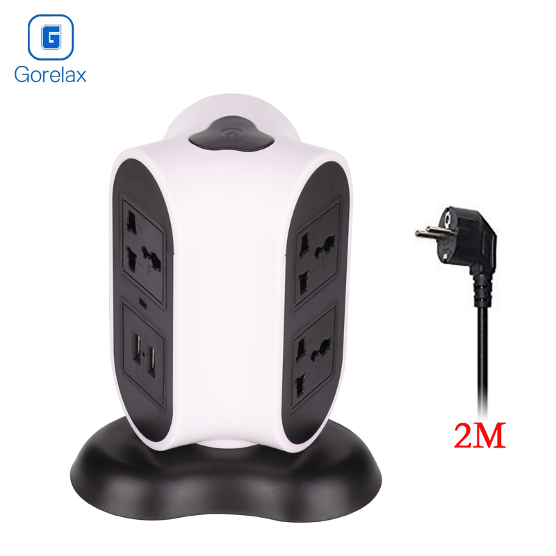2018 Gorelax Power Strip Surge Protector with 6 AC Outlets +Dual 2.1A USB Slots Tower Electrical Socket EU Plug standard grounding tower extension socket ac 10a multi universal socket 12 outlets with overload protector and portable handle