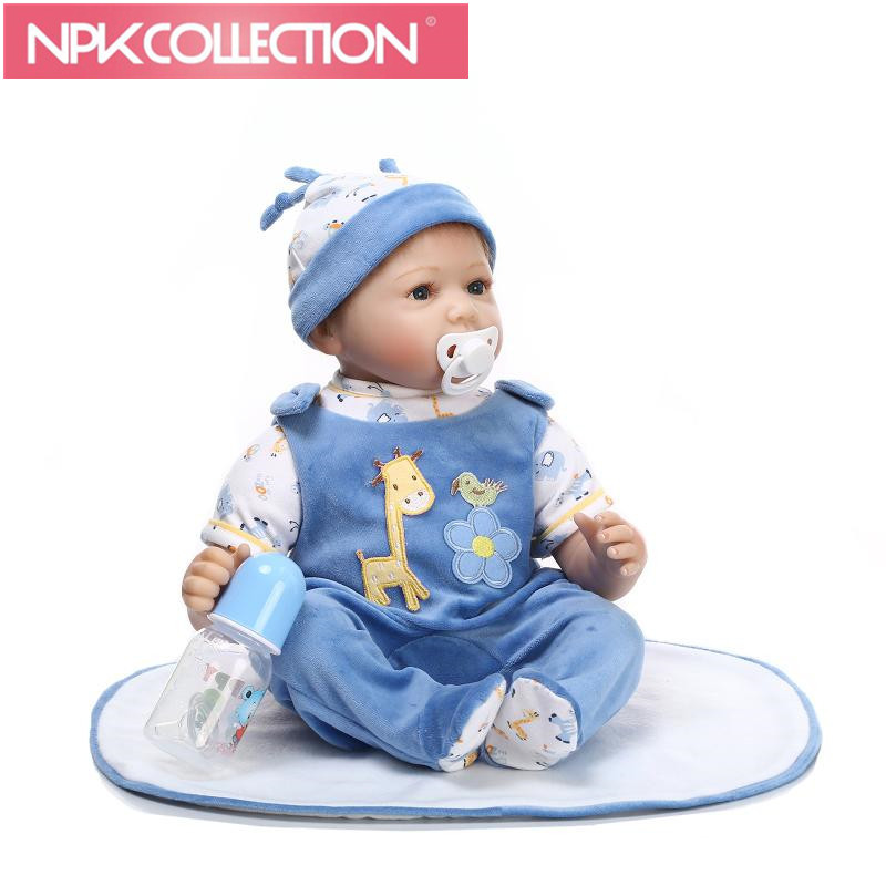 NPKCOLLECTION 22 Silicone bebe Reborn Baby Dolls Lifelike Reborn Toddler Doll Girl with Clothes Christmas Best Gift for Kids short curl hair lifelike reborn toddler dolls with 20inch baby doll clothes hot welcome lifelike baby dolls for children as gift