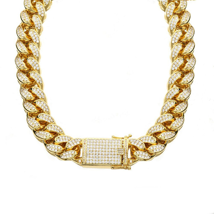 16 30 18mm Gold Color AAA Rhinestones Cuban Link Chain Necklace Men Hip Hop Bling Iced
