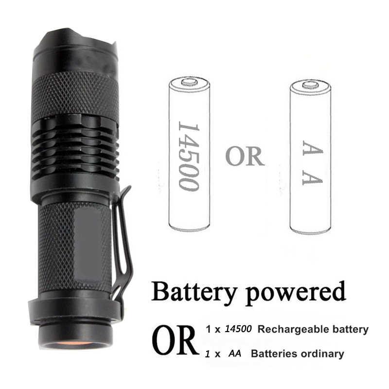 Litwod z90 + УФ-излучение Портативный мини пальчиковые свет Cree Q5 светодиодный фонарик Водонепроницаемый 3 режима масштабируемый с регулируемым фокусом Фонари