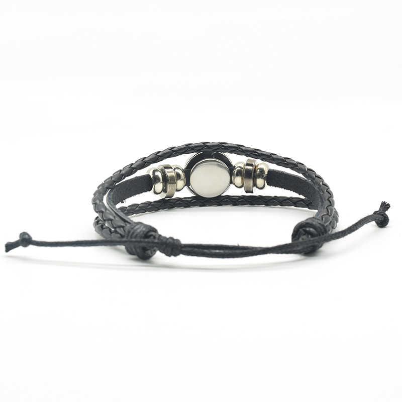 חתול שחור אופנה זכוכית תכשיטי כפתור כיפה ירח מלא גותי חבל Weave עור רב שכבתי צמיד צמיד אביזרי נשים גברים