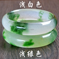 New Infinity Pure Natural Jade Flower Burma Jade Bangle Hand Made Jade flowers Bracelets & Bangles for Women Men Jewelry