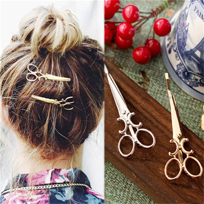 T35 Fashion Jewelry Silver Gold Color Scissors Hairclip Eyecatching Unique Scissors Hairpin Exquisite Hair Accessories Wholesale ...