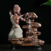 Apsara guitar back cone aromatic fragrance incense censer ceramic incense incense smoke ceremony hot waterfall view