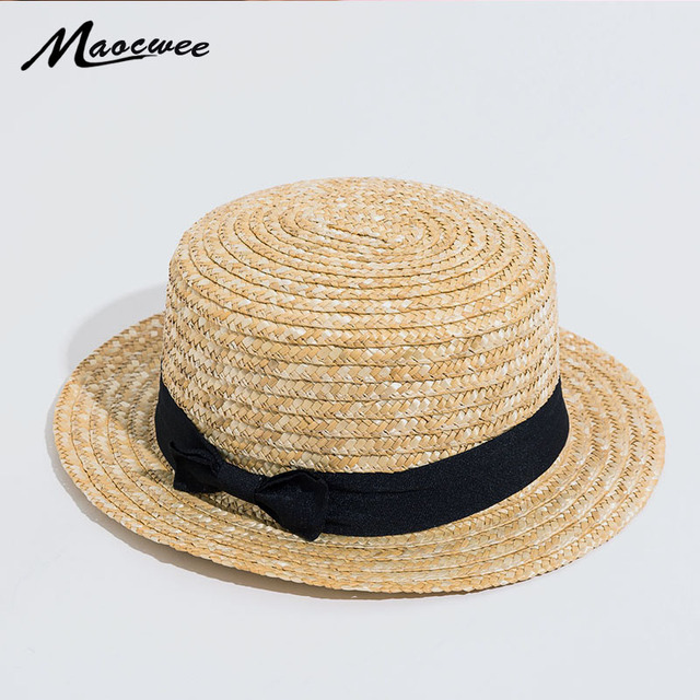 f447f4e2d8b Lovely Women Summer Sun Straw Hats Brim With Ribbons Bow Beach Hat Cap for  Teenage Girl Vacation Trilby Hat Straw Cap 2018