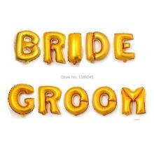 61e48ba8fe0d 16 pulgadas plata oro novia novio letra Mylar Globos del surtidor del  banquete de boda globo de helio para marrage partido