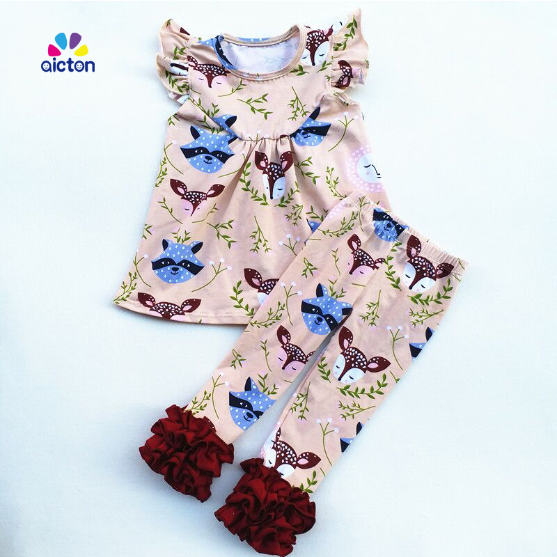 2017 fall Fox Printed children floral peral top with ruffle pants new design kids fox girls boutique outfits girl cotton outfits frank buytendijk dealing with dilemmas where business analytics fall short