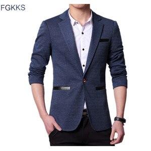 Image 1 - FGKKS moda marka mężczyźni marynarka płaszcz w jednolitym kolorze jesień strój męski Slim Fit smoking pana młodego bal męski biznesowa marynarka
