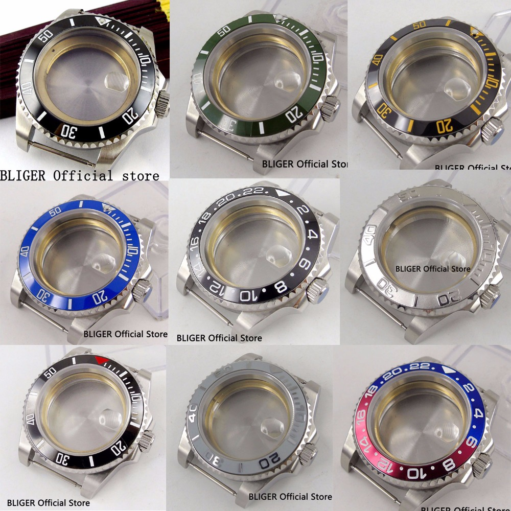 9 Models Stainless Steel Watch Case Watch Parts 40MM Sapphire Crystal Rotating Bezel Fit For MIYOTA Automatic Movement