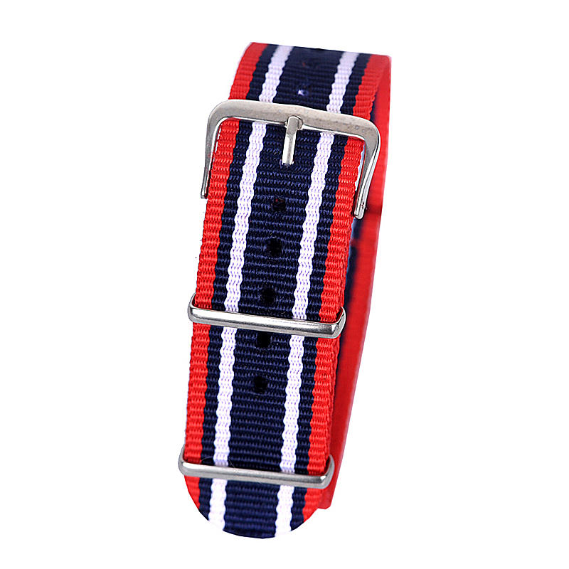 все цены на 22mm red dark blue white Sport nato fabric watch band straps accessories Bands nylon watchband steel Buckle belt онлайн