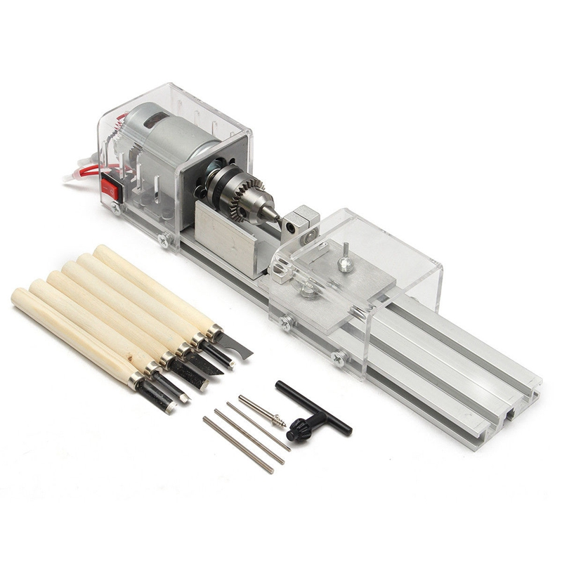 100W Cnc Mini Lathe Machine Tools Diy Woodworking Wood Lathe Milling Machines Grinding Polishing Beads Drill