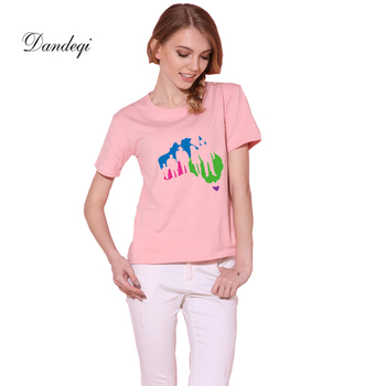 Dandeqi Solid Short-sleeved T-shirt Women Simple Basic Bottoming Female Tops Cotton Tee Drop Shipping