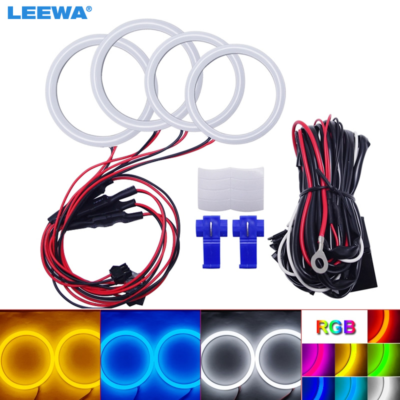 LEEWA 2X70mm 2X80mm Car Auto Halo Rings Cotton Lights SMD LED Angel Eyes for <font><b>Lada</b></font> Vaz <font><b>2109</b></font> Car Styling White/Blue/Yellow #1122 image