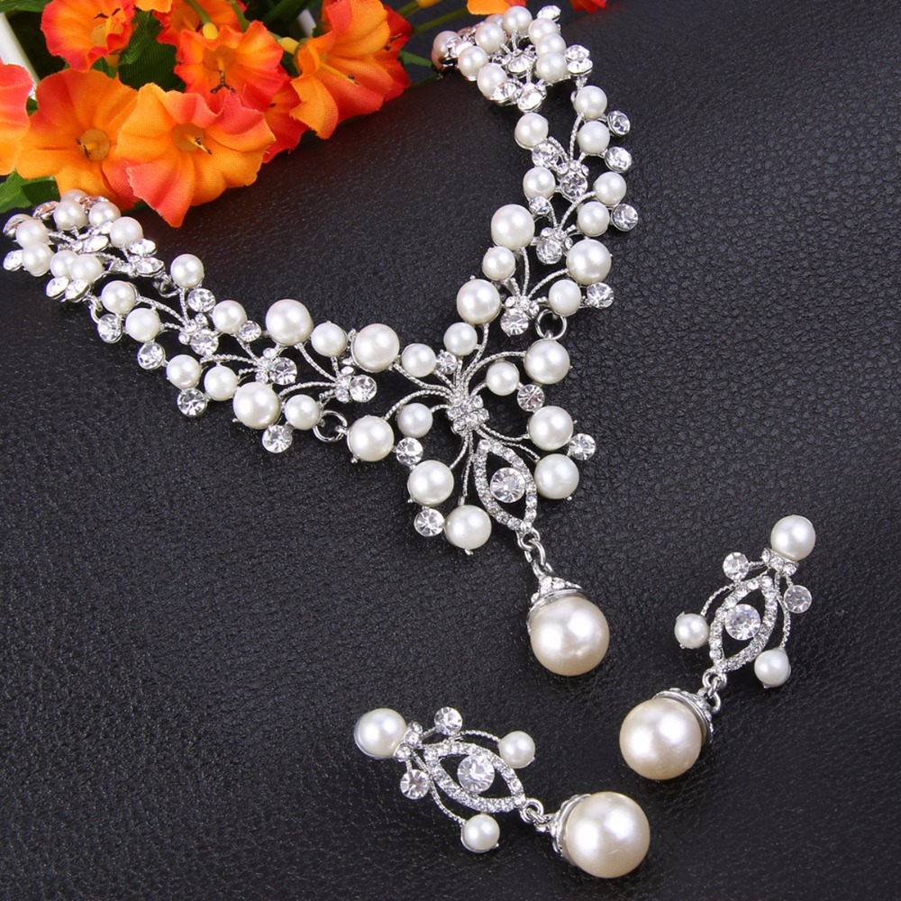 Bella fashion bridal flower ivory pearl necklace earrings set bella fashion bridal flower ivory pearl necklace earrings set austrian crystal chandelier wedding jewelry set for bridesmaid set in jewelry sets from aloadofball Image collections