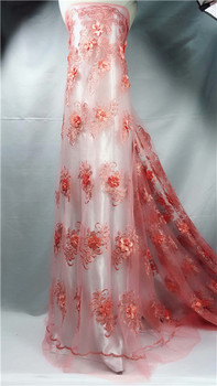 Elegant evening dress material with 3D flower French net lace fabric for lady dress QN89(5yards/lot)
