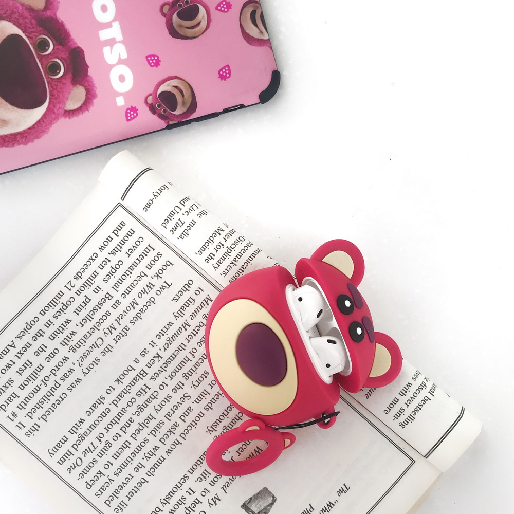 SOFT Silicone toy story lotso bear case for Airpods cute cartoon lovely gift for Apple Airpods2 bluetooth earphone case in Earphone Accessories from Consumer Electronics