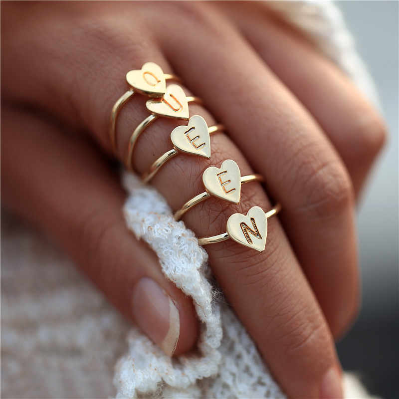 Personalized Hand Stamped Stacking A-Z 26 Letters Initial Tiny Heart Rings for Women Gold Color Finger Rings Jewelry Wholesale
