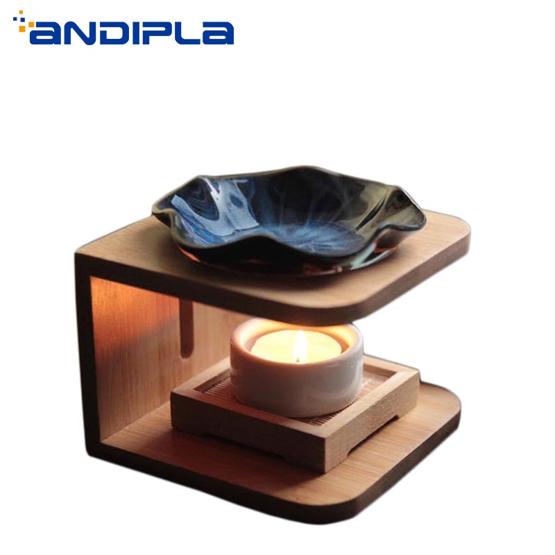 Natural Wood Shelf Ceramic Incense Burner Romantic Fragrance Lamps Candles Heater Essential Oils Diffuser Yoga SPA Aroma Burners