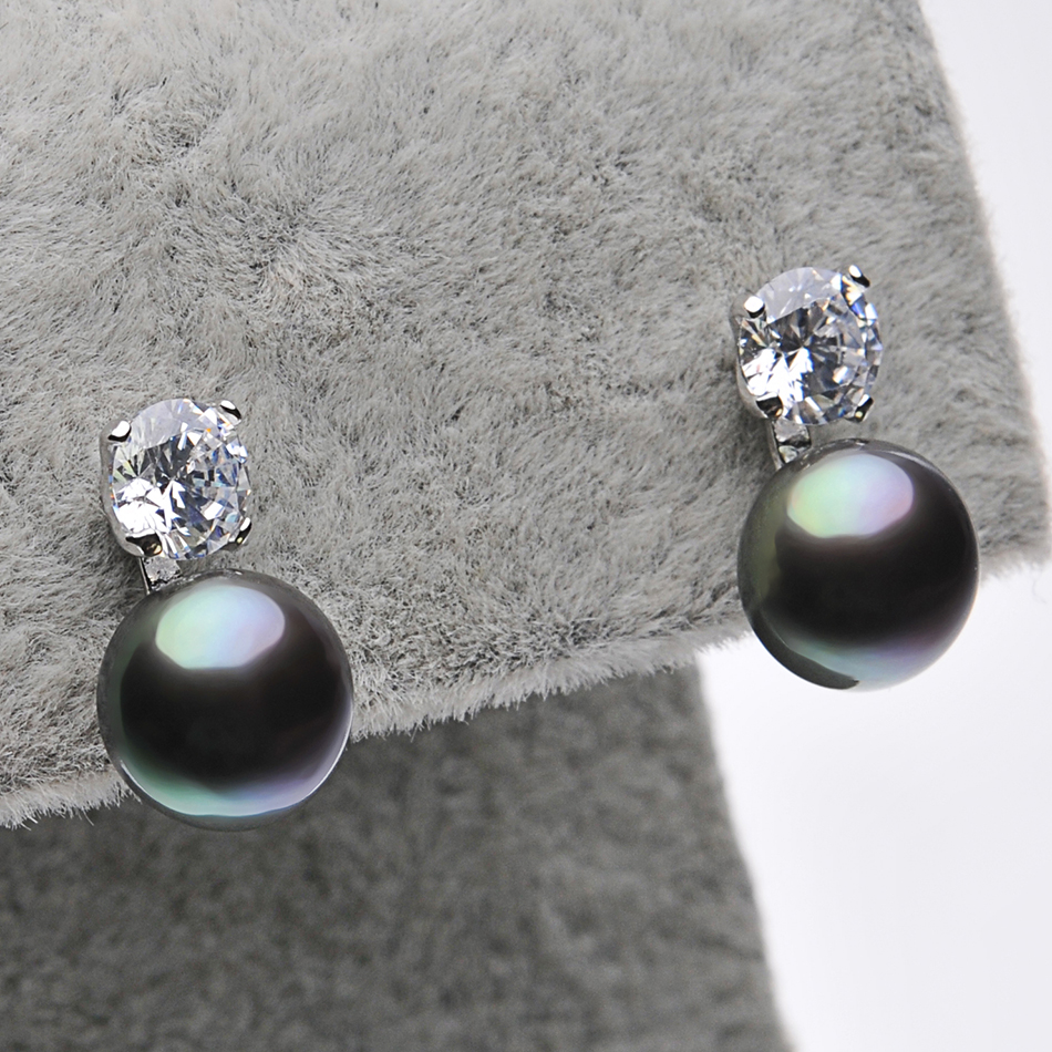 Classic Vingate Black Pearl Stud Earrings for Woman Party Jewelry Gifts 8 9MM Freshwater Pearl 925 Sterling Silver Earring FEIGE in Earrings from Jewelry Accessories