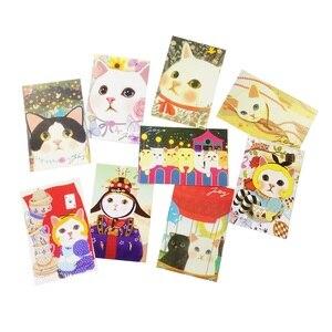 Image 1 - 80 יח\חבילה חמוד Cartoon חתולים גלויות קבוצת מתנה כרטיס סט הודעה כרטיס הודעה סיפור מתנת כרטיס ברכה