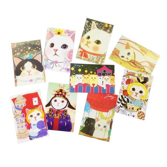 80 יח\חבילה חמוד Cartoon חתולים גלויות קבוצת מתנה כרטיס סט הודעה כרטיס הודעה סיפור מתנת כרטיס ברכה