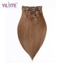 YILITE Double Drawn Remy hair Clip in Extensions 7pieces Light Brown Color Indian Human Hair Clip in Hair Extensions 16inch