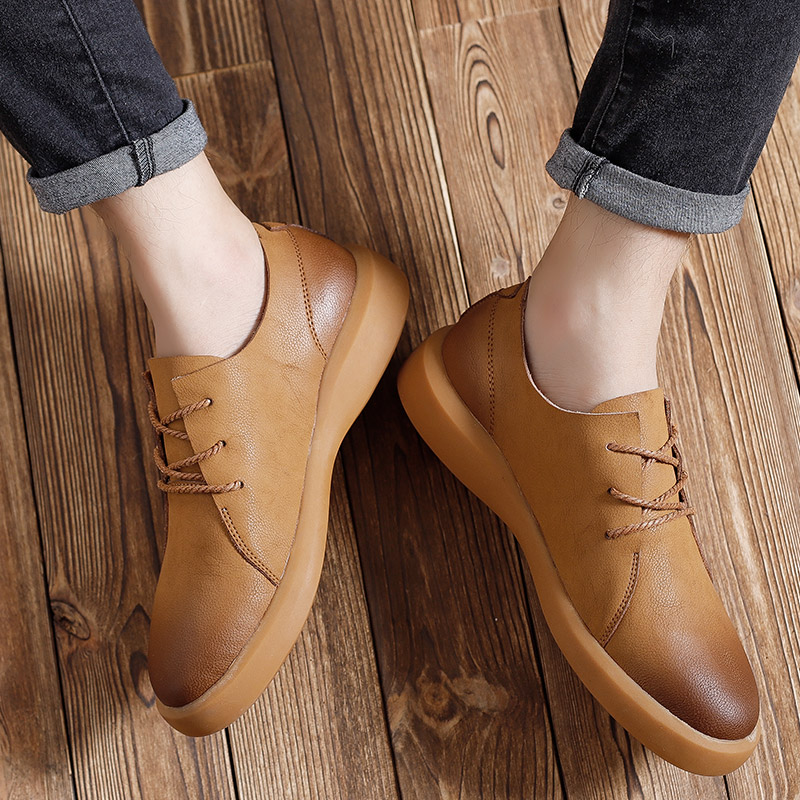 Image 4 - Genuine Leather Shoes Men Leather Sneakers Flats Design Style Men Shoes  Loafers Lace Up Walking Casual Shoes Men Big Size 37 47-in Men's Casual Shoes from Shoes