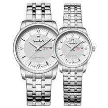 Nuodun Women Watches Silver Luxury Brand Original Calendar Rose Gold Thin Mens Watches Montre Femme Strass