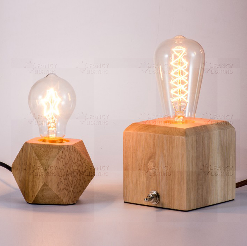 Wood Table Lamps With Night Light In Base Home Design Ideas