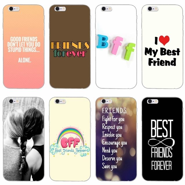 new style ffca0 9162c quotes best friends forever bff slim silicone Soft phone case For iPhone X  8 8plus 7 7plus 6 6s plus 5 5s 5c SE 4 4s