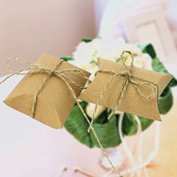 100 PCS DIY Kraft Paper Pillow Shape Candy Box Case Wedding Candy Favor Gift Party Supply
