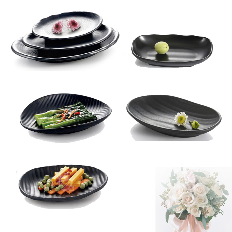 Vajilla de porcelana de imitación Plato llano Escarcha Plato ovalado negro Restaurante occidental con plato de melamina Vajilla de melamina A5
