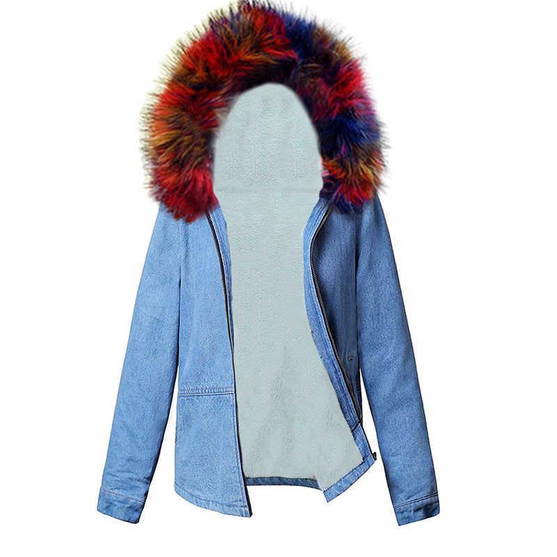 Sonbahar Kış Kot Ceket Kadınlar için Yeni 2019 Ceket lambswool jean Ceket Kapşonlu Uzun Kollu Sıcak Kot Ceket Kadın Sıcak dış giyim