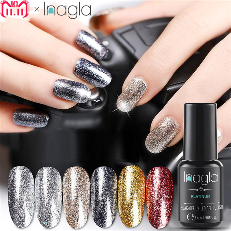 Inagla Nail Art 8ml Shining Glitter Starry Platinum