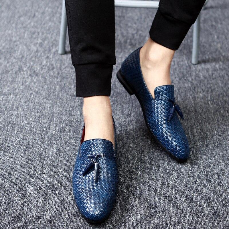 Black Main En Chaussures De Bout Luxe Marié silver blue Robe Plates Tissé Mocassins Cuir Marque Stephoes Hommes Gray Mariage Pointu La Glands Décontractée Mode À 1CnOOzd