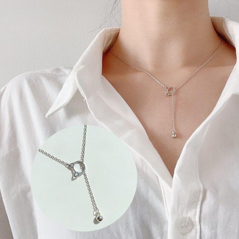 Модные крошечные изысканные ожерелья для женщин, ювелирные изделия, многослойные подвески с Луной и звездой, серебряный цвет, колье с крестом, этнический подарок для девушки - Окраска металла: Cat