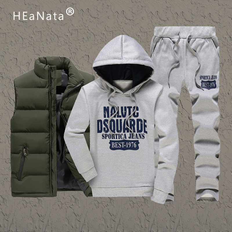 2019 Brand Sporting Suit Men Warm Hooded Tracksuit Sets Warm Vest Hoodies And Pants Casual Mens Outfits 3 Piece Sweatsuit M-5XL