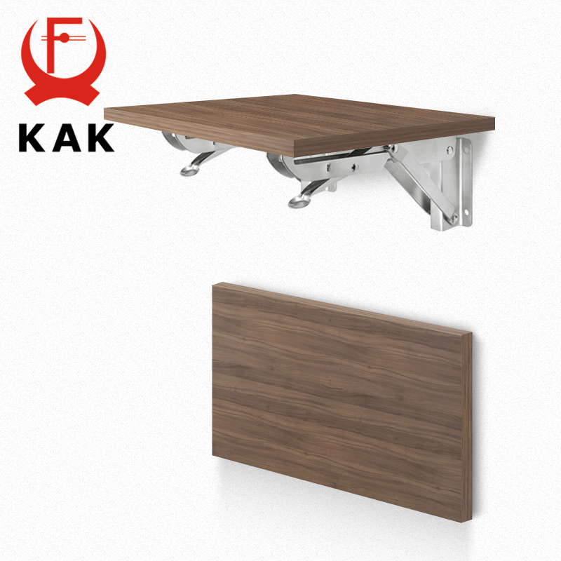 Image 3 - KAK 2PCS Folding Triangle Bracket Stainless Steel Shelf Support Adjustable Shelf Holder Wall Mounted Bench Table Shelf Hardware-in Brackets from Home Improvement