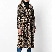 Stylish Women Warm Faux Fur Lapel Coat Winter Fur Women's Jacket Leopard Print Long Coats Female
