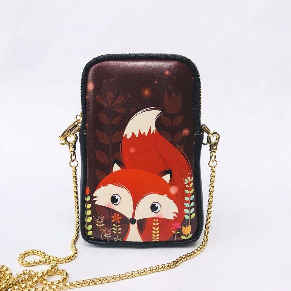 Mobile phone bag female 2018 new summer zipper mini bag cartoon cute coin purse shoulder diagonal package