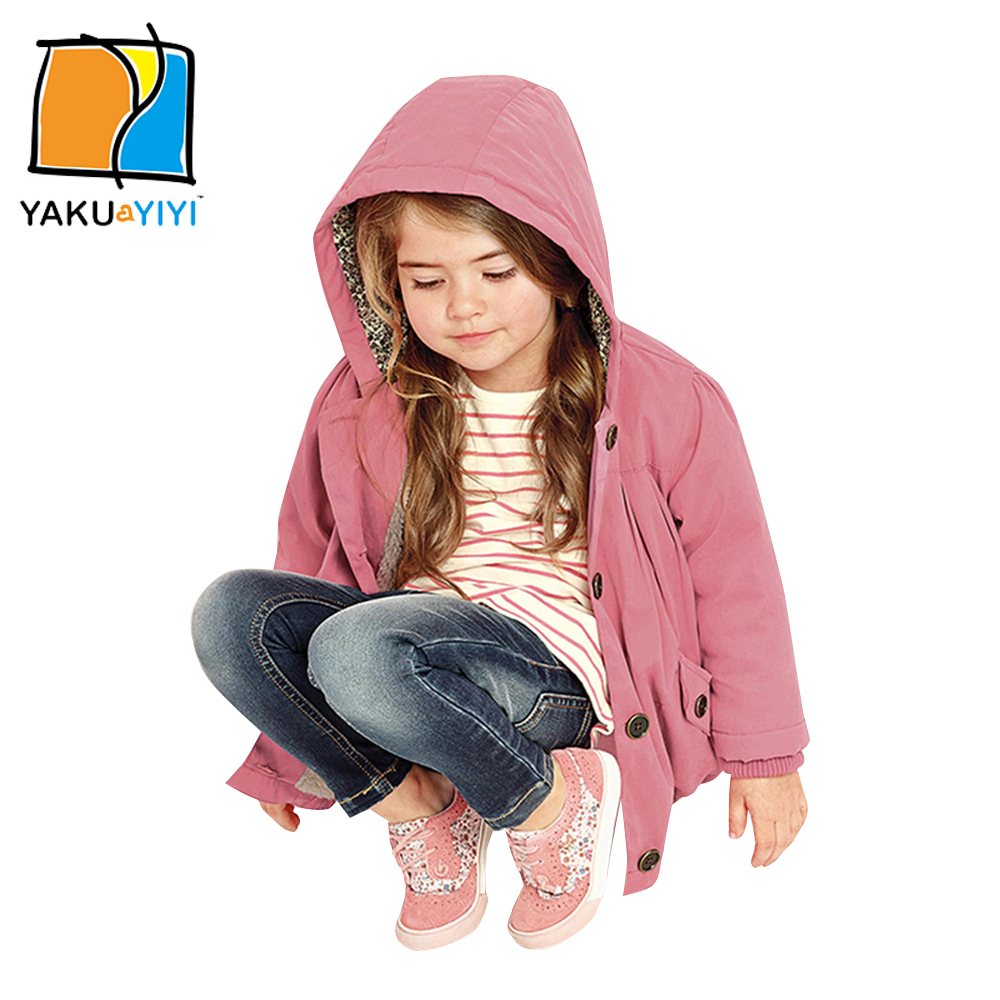 YKYY YAKUYIYI Pink Hooded Girls Outwear Single Breasted Baby Girls Outwears & Coat Cinched Hem Children Coat Girls Clothing