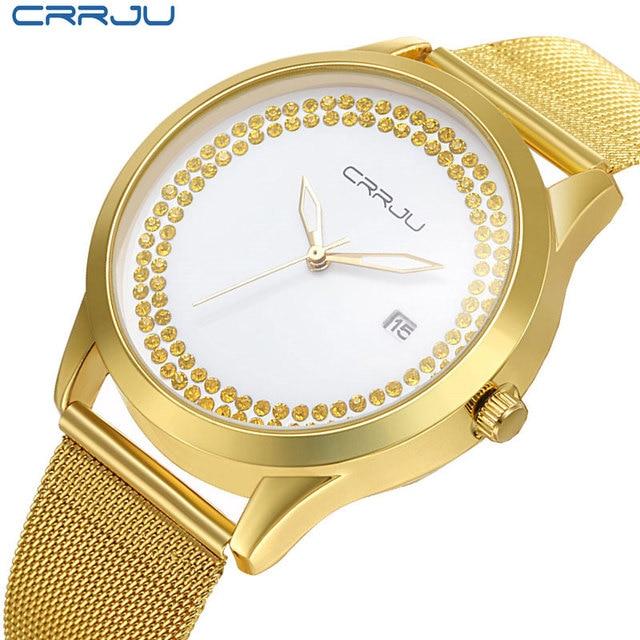 Fashion Design CRRJU Luxury Brand golden watch women watches casual Minimalist Wristwatches Stainless steel Women's dress Watch