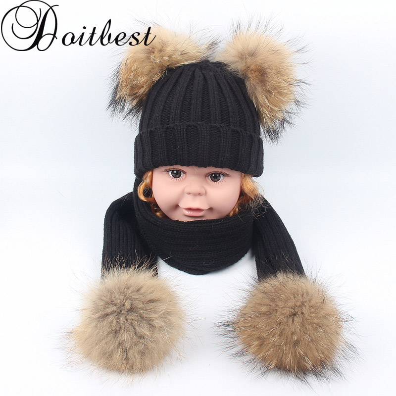 Doitbest Real Racoon Fur Pom Pom Kids Beanies Sets Wool Child Knitted Fur Hats Winter 2 Pcs Pompom Baby Beanie Girl Scarf Hat