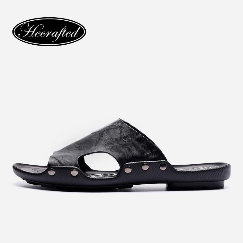 Plus la taille véritable en cuir hommes pantoufles 2018 nouvelle main occasionnel flip flops chaussures d'été #6022