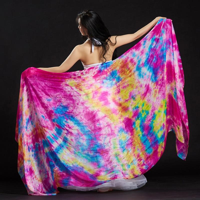 Belly Dance Costume Gradient Color Silk Shawl Veil Women Performance Dancewear Tie Dye Light Texture Veil Shawls 250*110cm