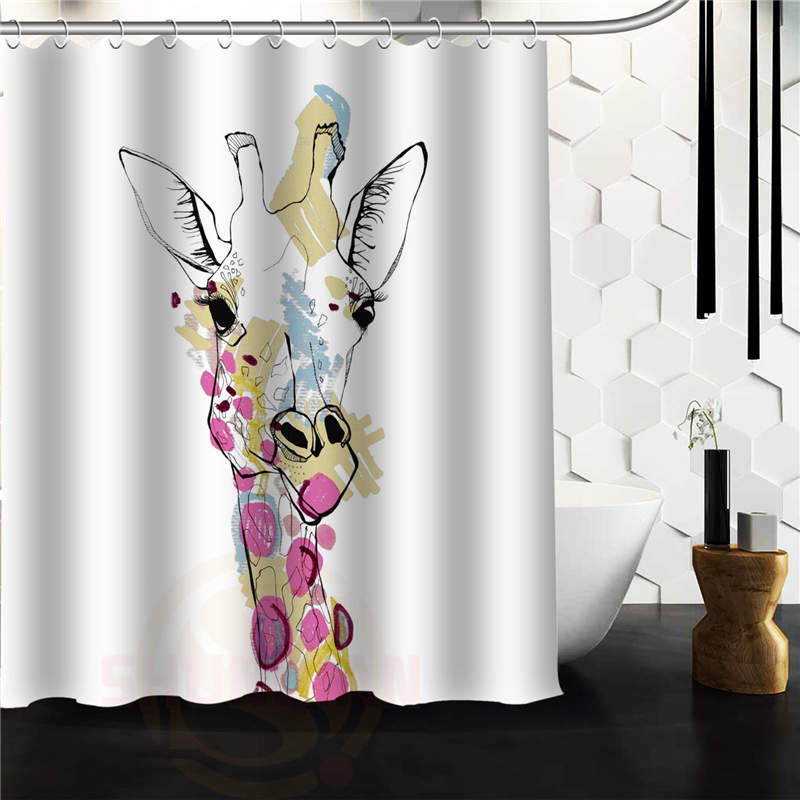 Custom Unique Design Animal Giraffe Waterproof Fabric Shower Curtain 48x72 60x72 inch